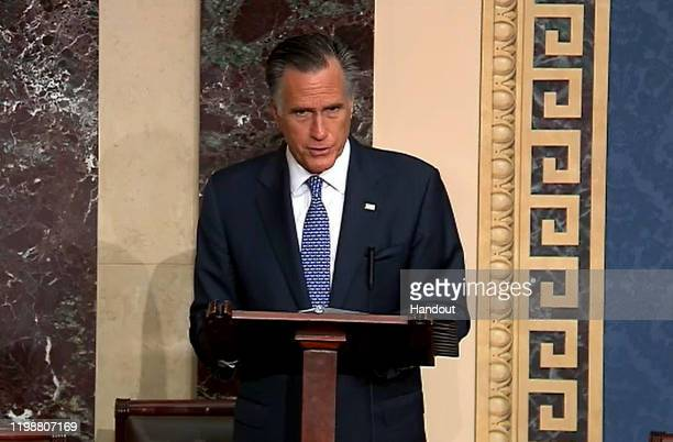 In this screengrab taken from a Senate Television webcast, Sen. Mitt Romney talks about how his faith guided his deliberations on the articles of...