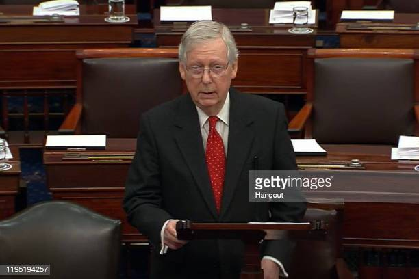 In this screengrab taken from a Senate Television webcast, Senate Majority Leader Mitch McConnell speaks during impeachment proceedings against U.S....
