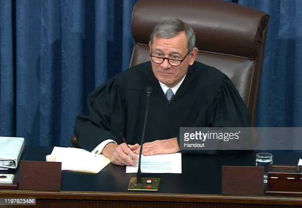 In this screengrab taken from a Senate Television webcast, Supreme Court Chief Justice John Roberts speaks during impeachment proceedings in the...