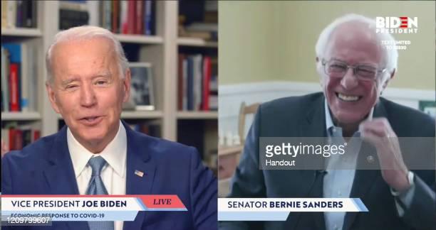In this screengrab taken from JoeBidencom campaign website US Sen Bernie Sanders endorses Democratic presidential candidate former Vice President Joe...