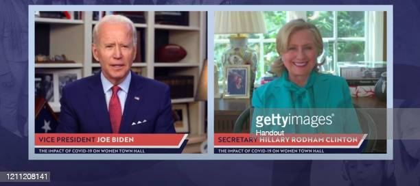 In this screengrab taken from the PBS News Hour website former first lady Senator and Secretary of State Hillary Clinton joins former Vice President...
