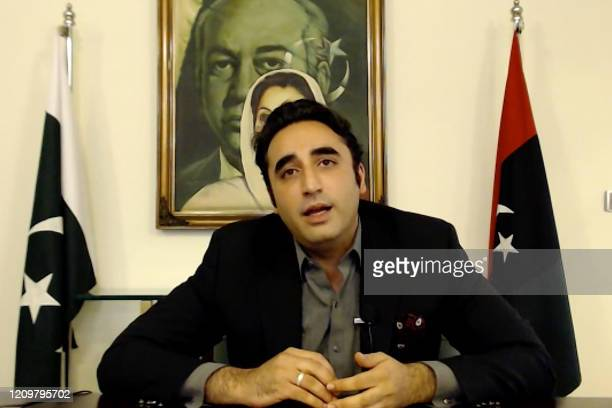 In this screengrab taken on April 13 2020 opposition leader Bilawal Bhutto Zardari of Pakistan Peoples Party speaks from Karachi during an interview...