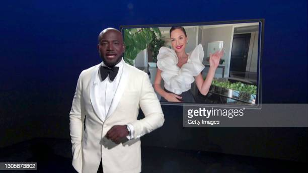 In this screengrab, Taye Diggs and Gal Gadot speak at the 26th Annual Critics Choice Awards on March 07, 2021.