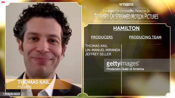 In this screengrab, Thomas Kail accepts the Outstanding Producer of Televised or Streamed Motion Pictures Award during the 32nd Annual Producers...