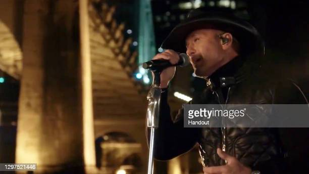 In this screengrab, Tim McGraw performs during the Celebrating America Primetime Special on January 20, 2021. The livestream event hosted by Tom...