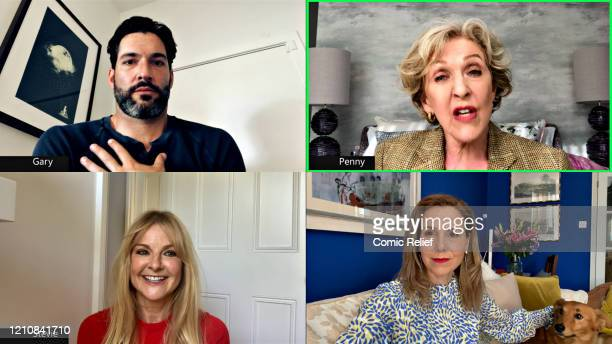 In this screengrab Tom Ellis Patricia Hodge Sarah Hadland and Sally Phillips take part in the BBC Children In Need and Comic Relief 'Big Night In at...