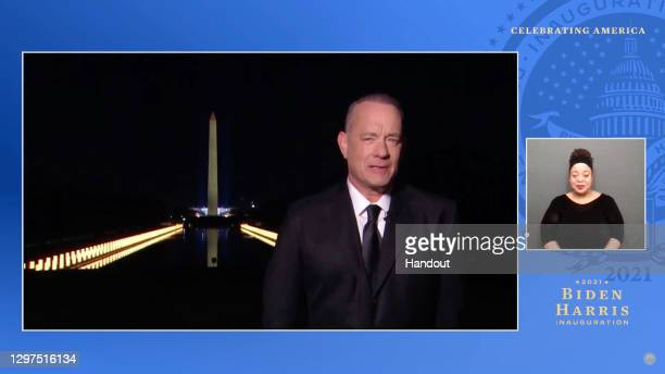 In this screengrab, Tom Hanks speaks during the Celebrating America Primetime Special on January 20, 2021. The livestream event hosted by Tom Hanks...