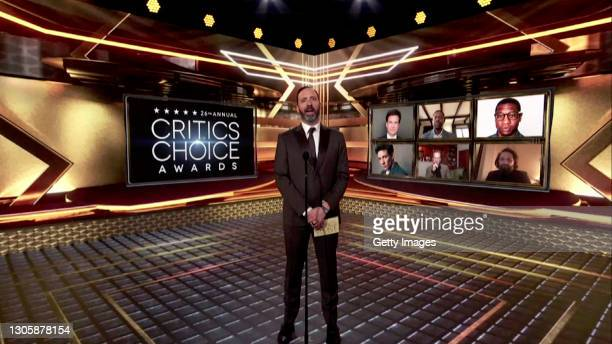 In this screengrab, Tony Hale presents the Best Actor in a Drama Series Award at the 26th Annual Critics Choice Awards on March 07, 2021.