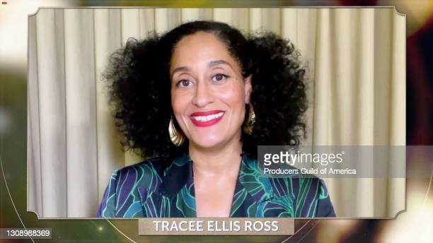 In this screengrab, Tracee Ellis Ross speaks during the 32nd Annual Producers Guild Awards on March 24, 2021.