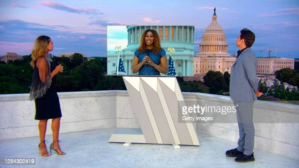 "In this screengrab, Vanessa Williams, Yolanda Adams and John Stamos speak onstage for the 40th Anniversary of ""A Capitol Fourth"" on PBS on July 04,..."