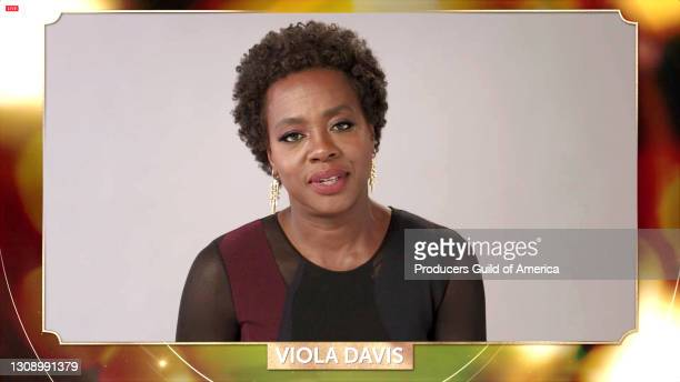 In this screengrab, Viola Davis speaks during the 32nd Annual Producers Guild Awards on March 24, 2021.