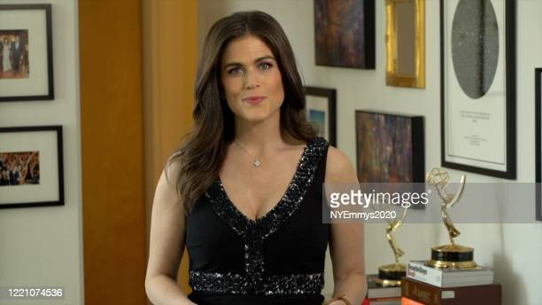 In this screengrab WCBS News Anchor Jessica Moore speaks on camera during a livestream for the 63rd Annual Emmy Awards on April 25 2020 in New York...