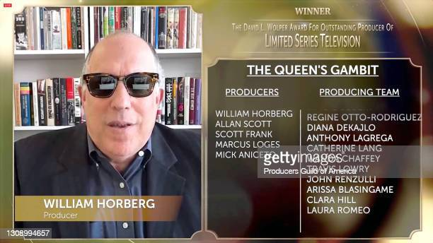 In this screengrab, William Horberg accepts the David L. Wolper Award for Outstanding Producer of Limited Series Television during the 32nd Annual...