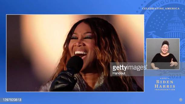 In this screengrab, Yolanda Adams performs during the Celebrating America Primetime Special on January 20, 2021. The livestream event hosted by Tom...