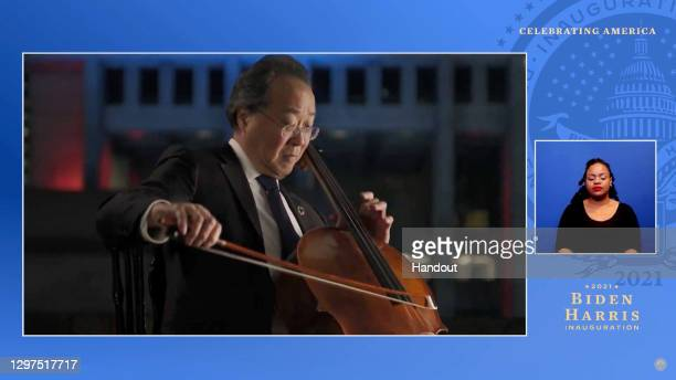 In this screengrab, Yo-Yo Ma performs during the Celebrating America Primetime Special on January 20, 2021. The livestream event hosted by Tom Hanks...