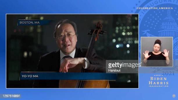 In this screengrab, Yo-Yo Ma speaks during the Celebrating America Primetime Special on January 20, 2021. The livestream event hosted by Tom Hanks...
