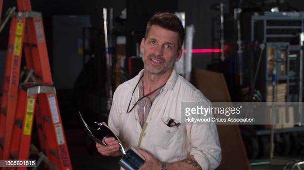 In this screengrab, Zack Snyder accepts the Valiant Award during The 4th Annual Hollywood Critics Association Film Awards on March 05, 2021.