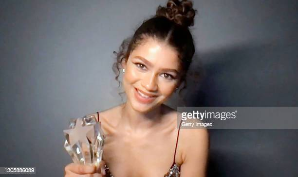 In this screengrab, Zendaya accepts the SeeHer Award at the 26th Annual Critics Choice Awards on March 07, 2021.