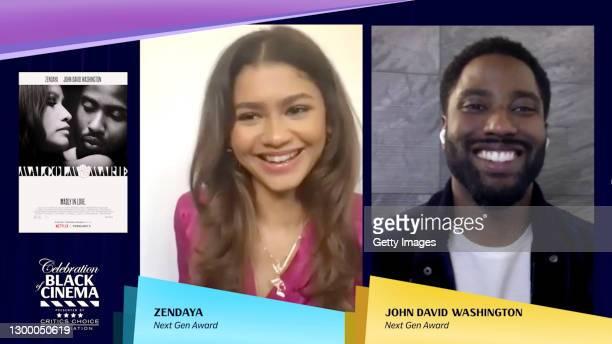 In this screengrab, Zendaya and John David Washington accept the Next Gen Award at the Critics Choice Association's Third Annual Celebration of Black...