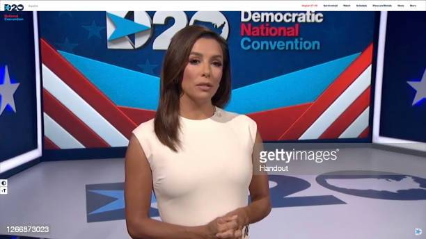 In this screenshot from the DNCC's livestream of the 2020 Democratic National Convention, actress and activist Eva Longoria addresses the virtual...