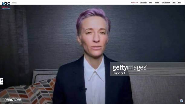 In this screenshot from the DNCC's livestream of the 2020 Democratic National Convention athlete Megan Rapinoe addresses the virtual convention on...
