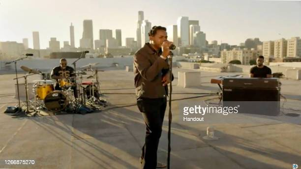 In this screenshot from the DNCC's livestream of the 2020 Democratic National Convention, Leon Bridges performs to the virtual convention August 17,...