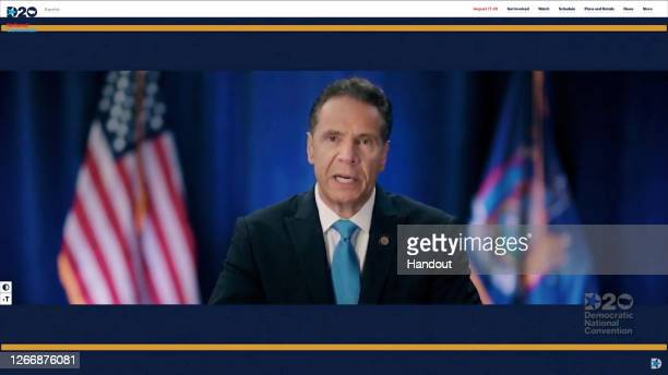 In this screenshot from the DNCC's livestream of the 2020 Democratic National Convention, New York Gov. Andrew Cuomo addresses the virtual convention...