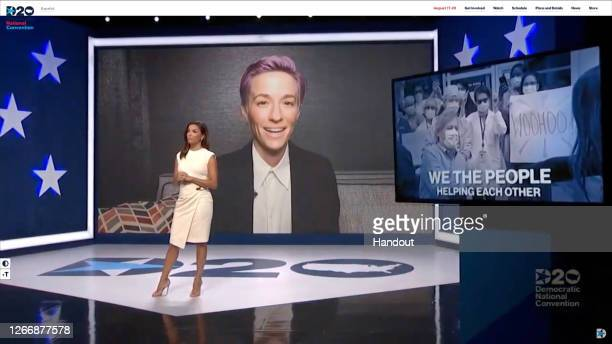 In this screenshot from the DNCC's livestream of the 2020 Democratic National Convention actress and activist Eva Longoria speaks with athlete Megan...