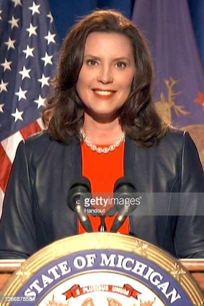 In this screenshot from the DNCC's livestream of the 2020 Democratic National Convention, Michigan Gov. Gretchen Whitmer addresses the virtual...
