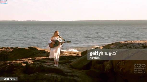 In this screenshot from the DNCC's livestream of the 2020 Democratic National Convention, Maggie Rogers performs to the virtual convention August 17,...