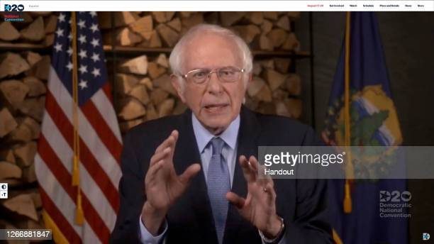In this screenshot from the DNCC's livestream of the 2020 Democratic National Convention, Sen. Bernie Sanders addresses the virtual convention on...