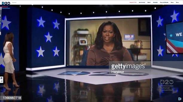In this screenshot from the DNCC's livestream of the 2020 Democratic National Convention, actress and activist Eva Longoria introduces Former First...