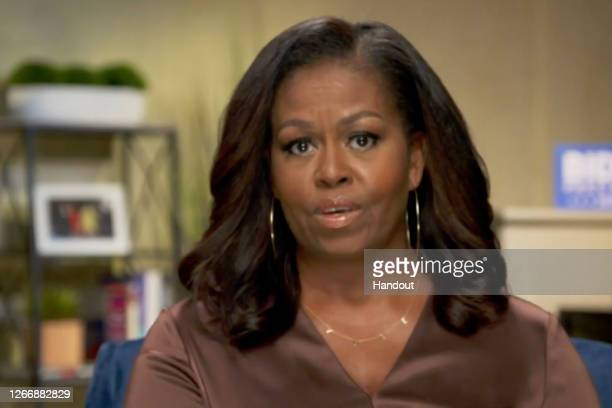 In this screenshot from the DNCC's livestream of the 2020 Democratic National Convention, Former First Lady Michelle Obama addresses the virtual...