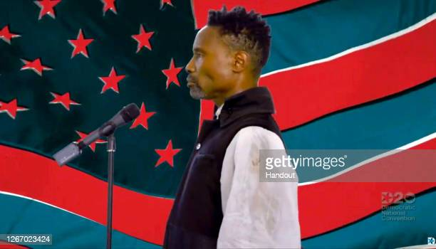 In this screenshot from the DNCC's livestream of the 2020 Democratic National Convention and subjected to publicist approval Billy Porter performs to...