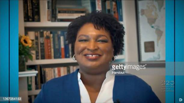 In this screenshot from the DNCC's livestream of the 2020 Democratic National Convention, Former candidate for Governor of Georgia Stacey Abrams...