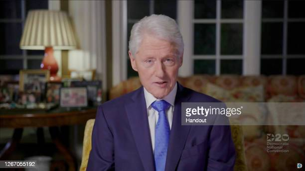 In this screenshot from the DNCC's livestream of the 2020 Democratic National Convention, Former U.S. President Bill Clinton addresses the virtual...