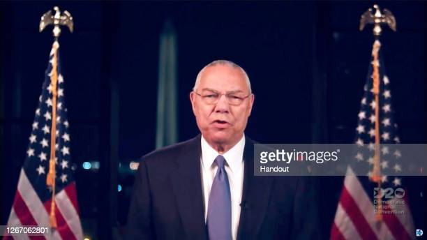 In this screenshot from the DNCC's livestream of the 2020 Democratic National Convention, Former Secretary of State Colin Powell addresses the...