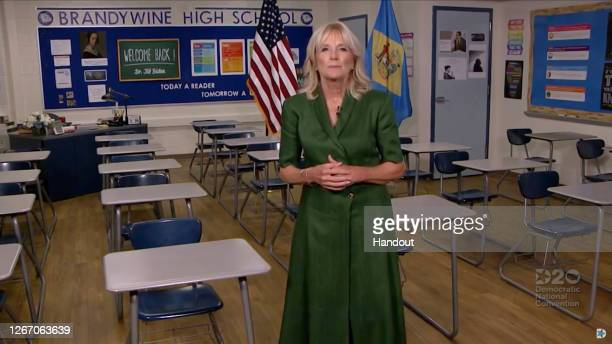 In this screenshot from the DNCC's livestream of the 2020 Democratic National Convention, Former U.S. Second Lady Dr. Jill Biden addresses from a...