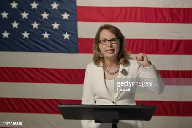 In this screenshot from the DNCC's livestream of the 2020 Democratic National Convention, former U.S. Rep. Gabrielle Giffords addresses the virtual...