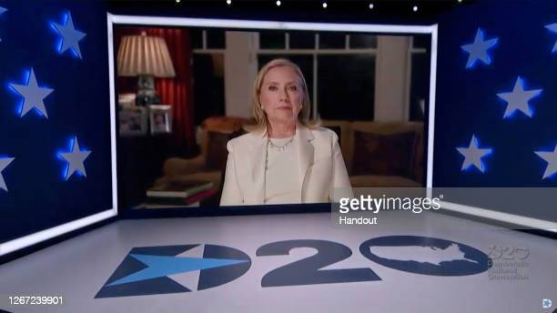 In this screenshot from the DNCC's livestream of the 2020 Democratic National Convention, former first lady and Secretary of State Hillary Clinton...