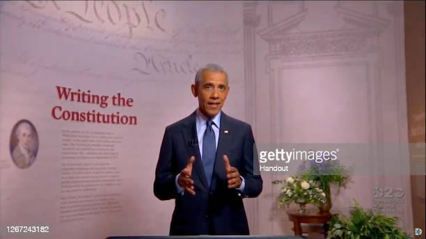 In this screenshot from the DNCC's livestream of the 2020 Democratic National Convention, former U.S. President Barack Obama addresses the virtual...