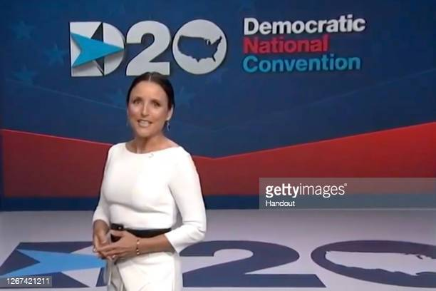 In this screenshot from the DNCC's livestream of the 2020 Democratic National Convention, actress Julia Louis-Dreyfus hosts the virtual convention on...