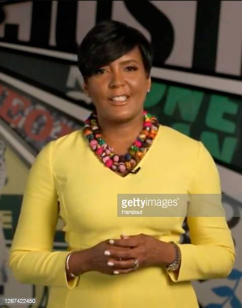 In this screenshot from the DNCC's livestream of the 2020 Democratic National Convention Mayor of Atlanta Keisha Lance Bottoms addresses the virtual...