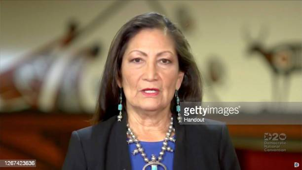In this screenshot from the DNCC's livestream of the 2020 Democratic National Convention, Rep. Deb Haaland addresses the virtual convention on August...