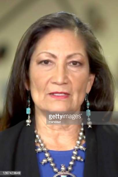 In this screenshot from the DNCC's livestream of the 2020 Democratic National Convention Rep Deb Haaland addresses the virtual convention on August...