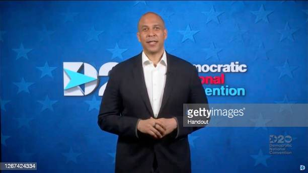 In this screenshot from the DNCC's livestream of the 2020 Democratic National Convention, Sen. Cory Booker addresses the virtual convention on August...