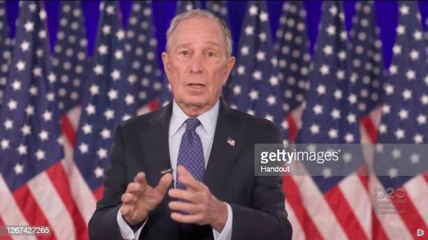 In this screenshot from the DNCC's livestream of the 2020 Democratic National Convention, former New York Mayor Michael Bloomberg addresses the...