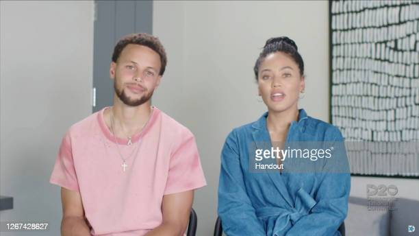 In this screenshot from the DNCC's livestream of the 2020 Democratic National Convention NBA athlete Stephen Curry and his wife Ayesha Curry address...
