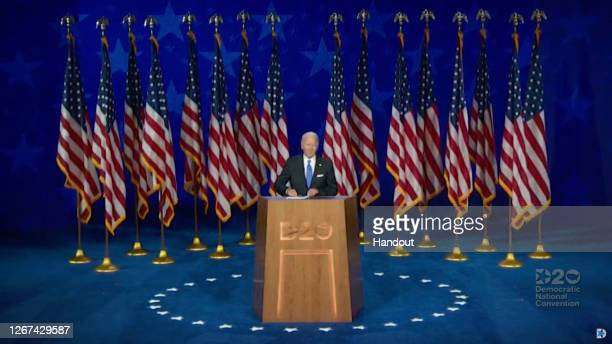 In this screenshot from the DNCC's livestream of the 2020 Democratic National Convention, Democratic presidential nominee Joe Biden addresses the...