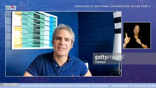 In this screenshot from the DNCC's livestream of the 2020 Democratic National Convention After Party, Andy Cohen speaks to the virtual convention...